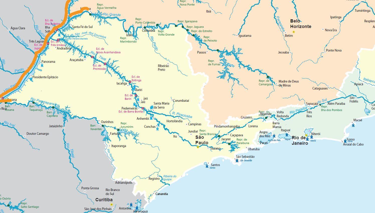 São Paulo Rivers Map Map Of São Paulo Rivers Brazil - Map of sao paulo