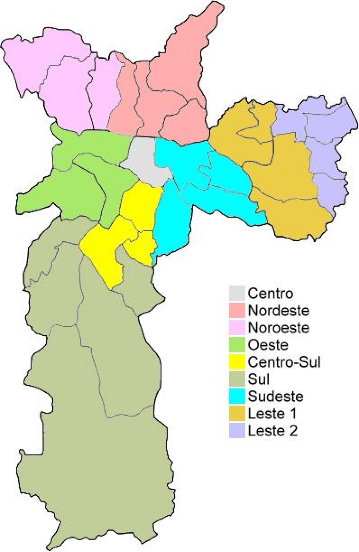 Map of administrative regions in São Paulo