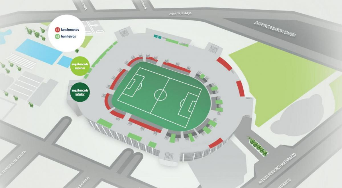 Map of Allianz Parque - Lower bleachers