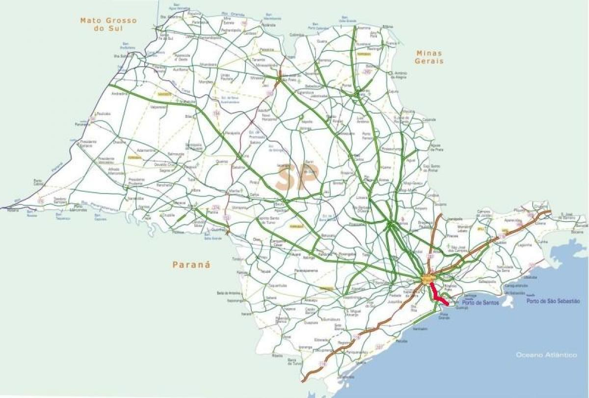 Map of Anchieta highway - SP 150