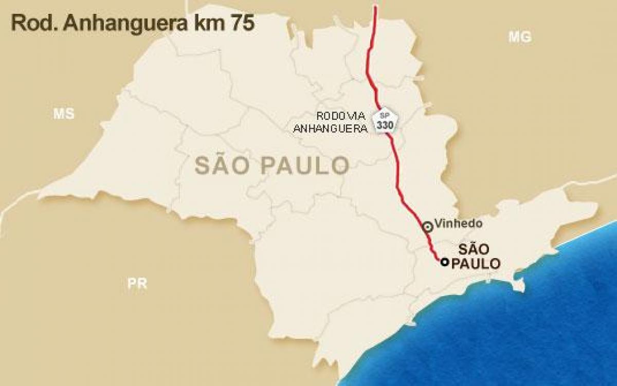 Map of Anhanguera highway - SP 330