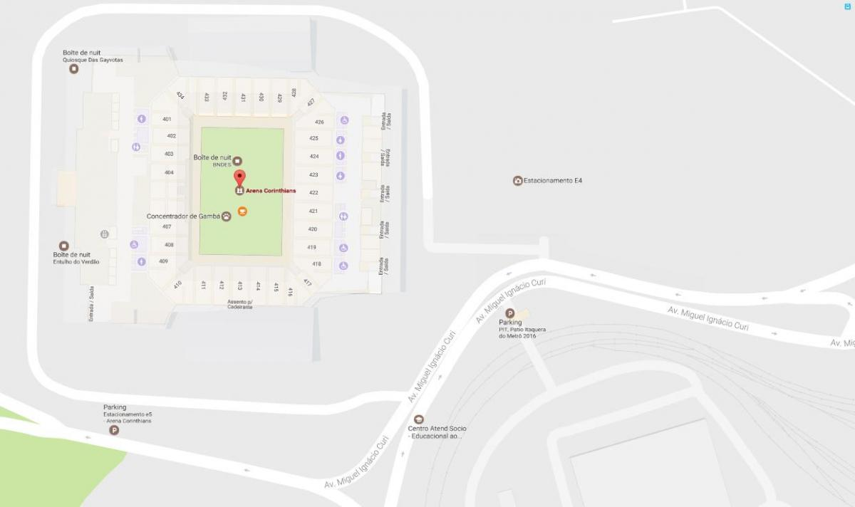 Map of Arena Corinthians - Access