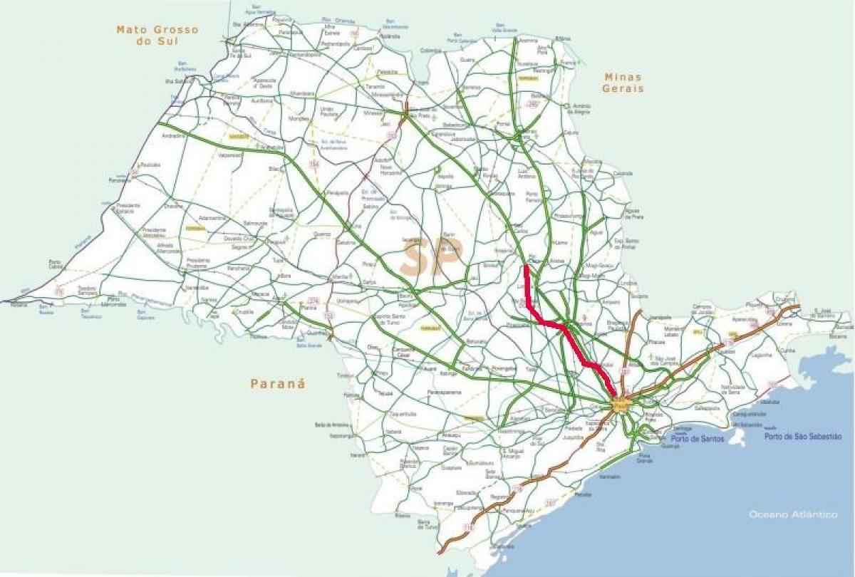 Map of Bandeirantes highway - SP 348
