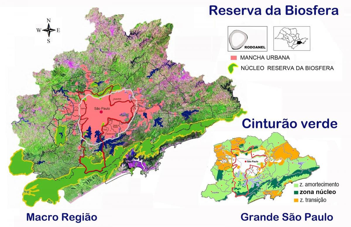 Map of biosphere reserve of the green belt of São Paulo