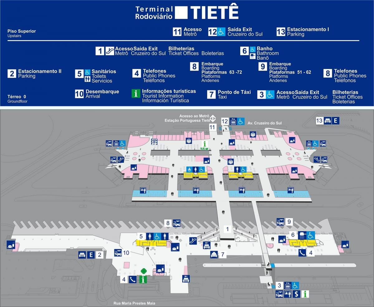 Map of bus terminal Tietê - upper floor