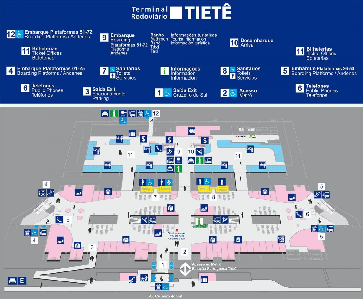Map of bus terminal Tietê
