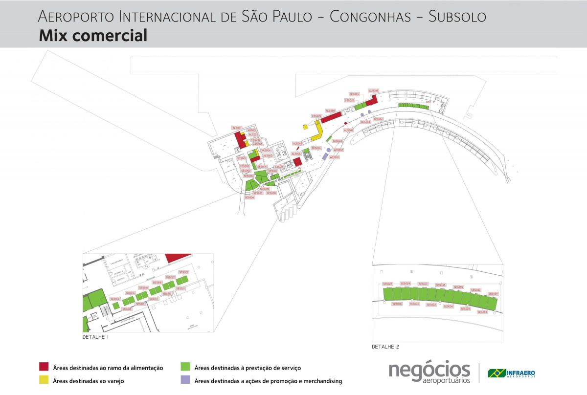 Map of Congonhas airport - Floor -1