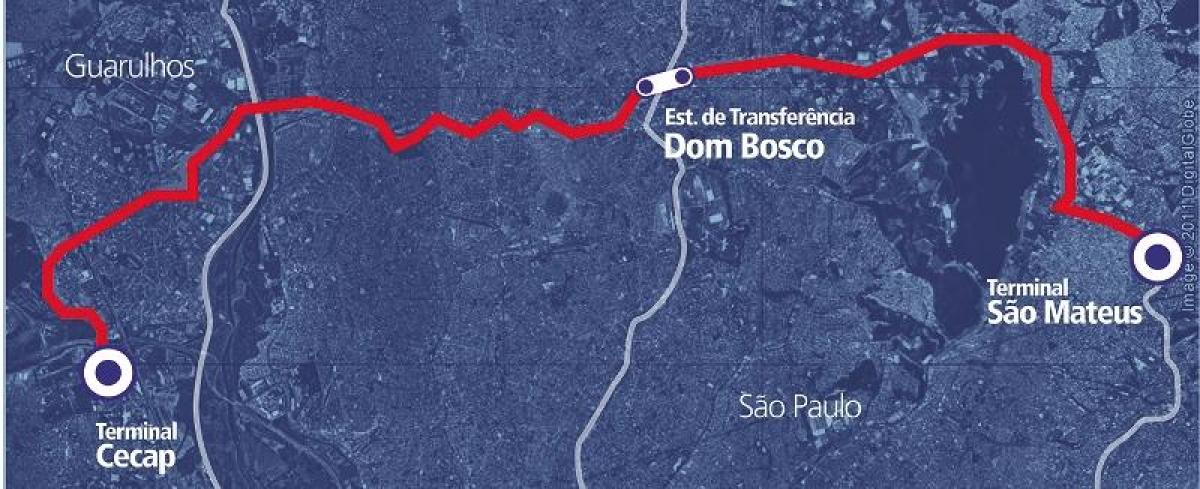 Map of corredor BRT metropolitano Perimetral Leste
