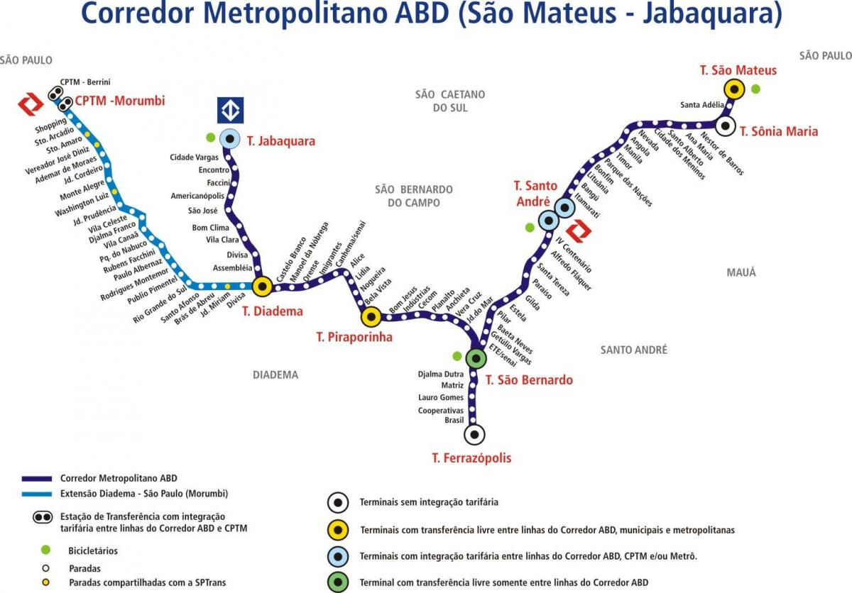 Map of corredor metropolitano ABD