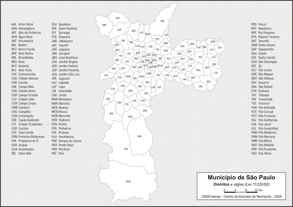 Map of districts São Paulo