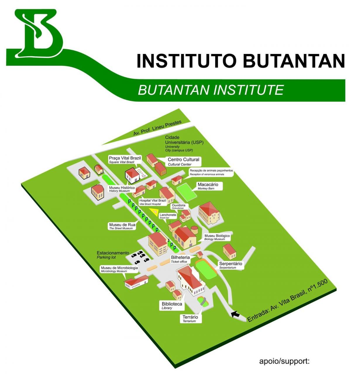 Map of institute Butantan