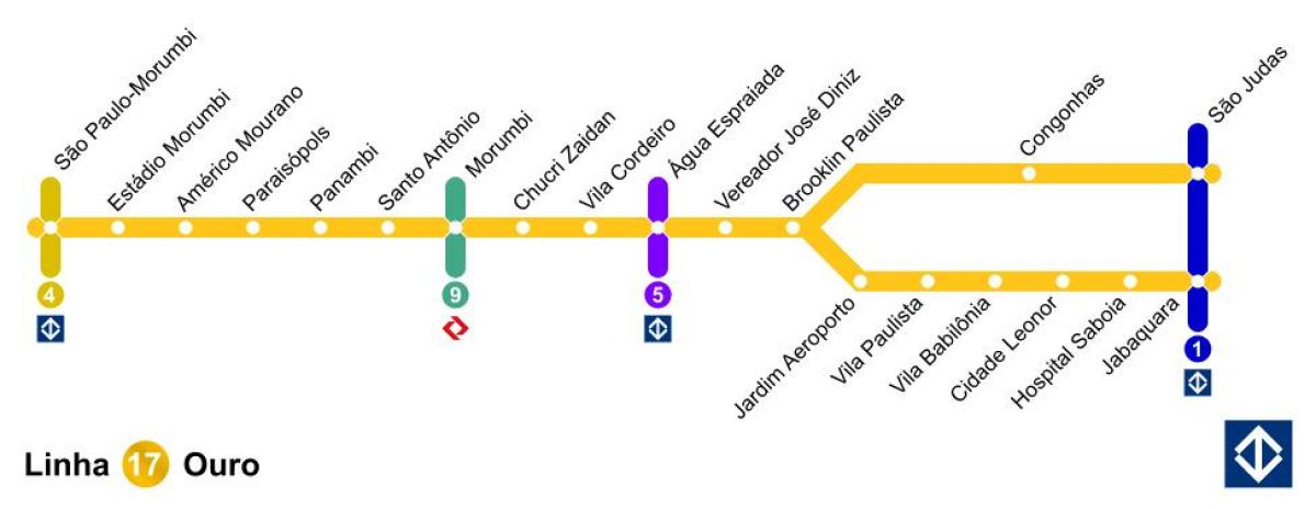 Map of São Paulo monorail - Line 17 - Gold