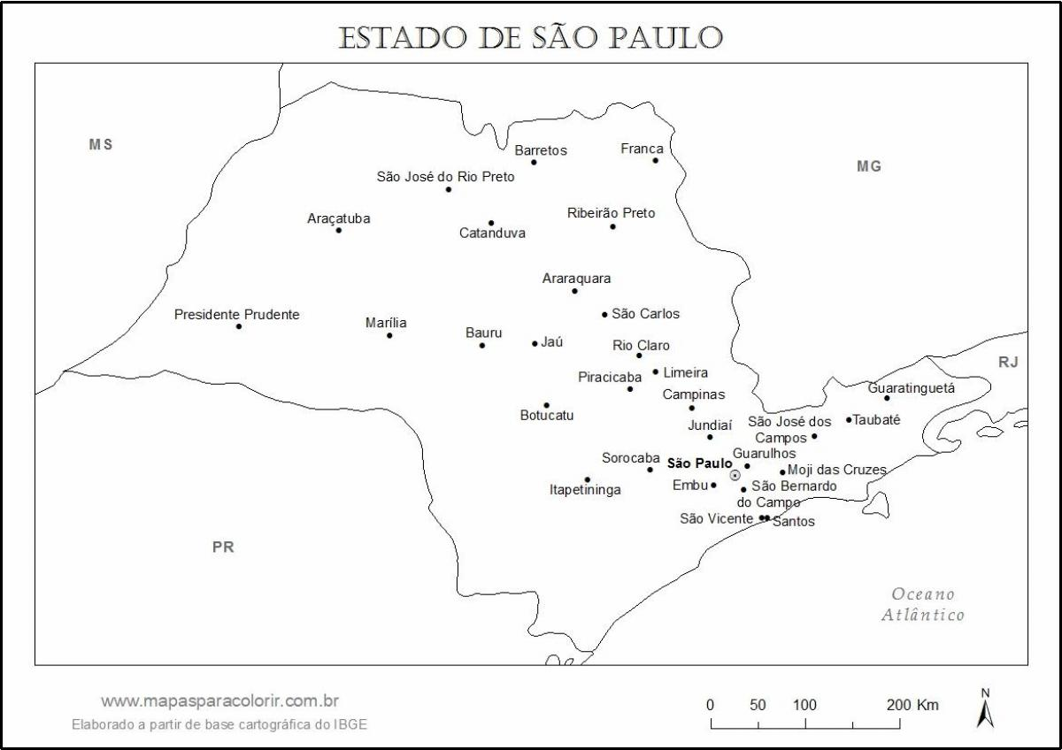 Map of São Paulo virgin - main cities