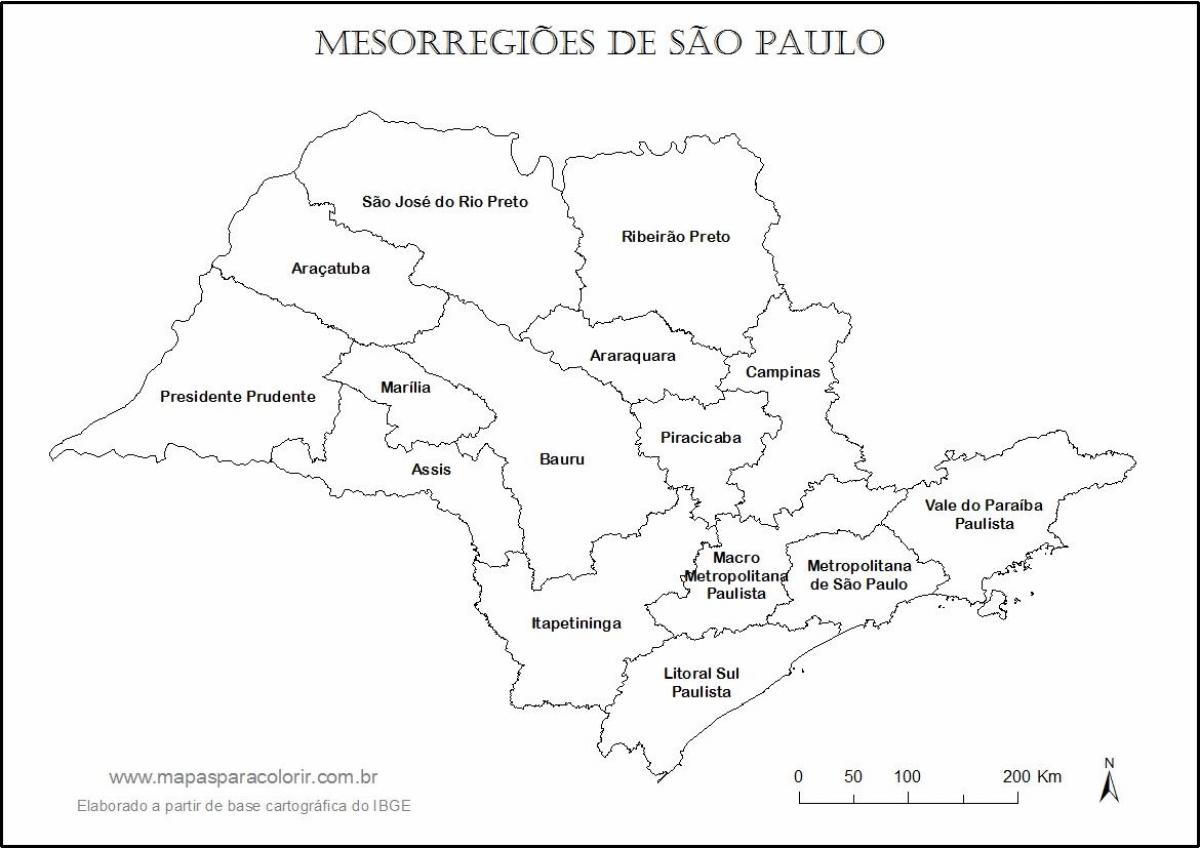 Map of São Paulo virgin - regions names