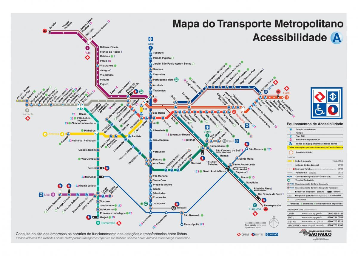 Map of transport Sao Paulo - disabled Access