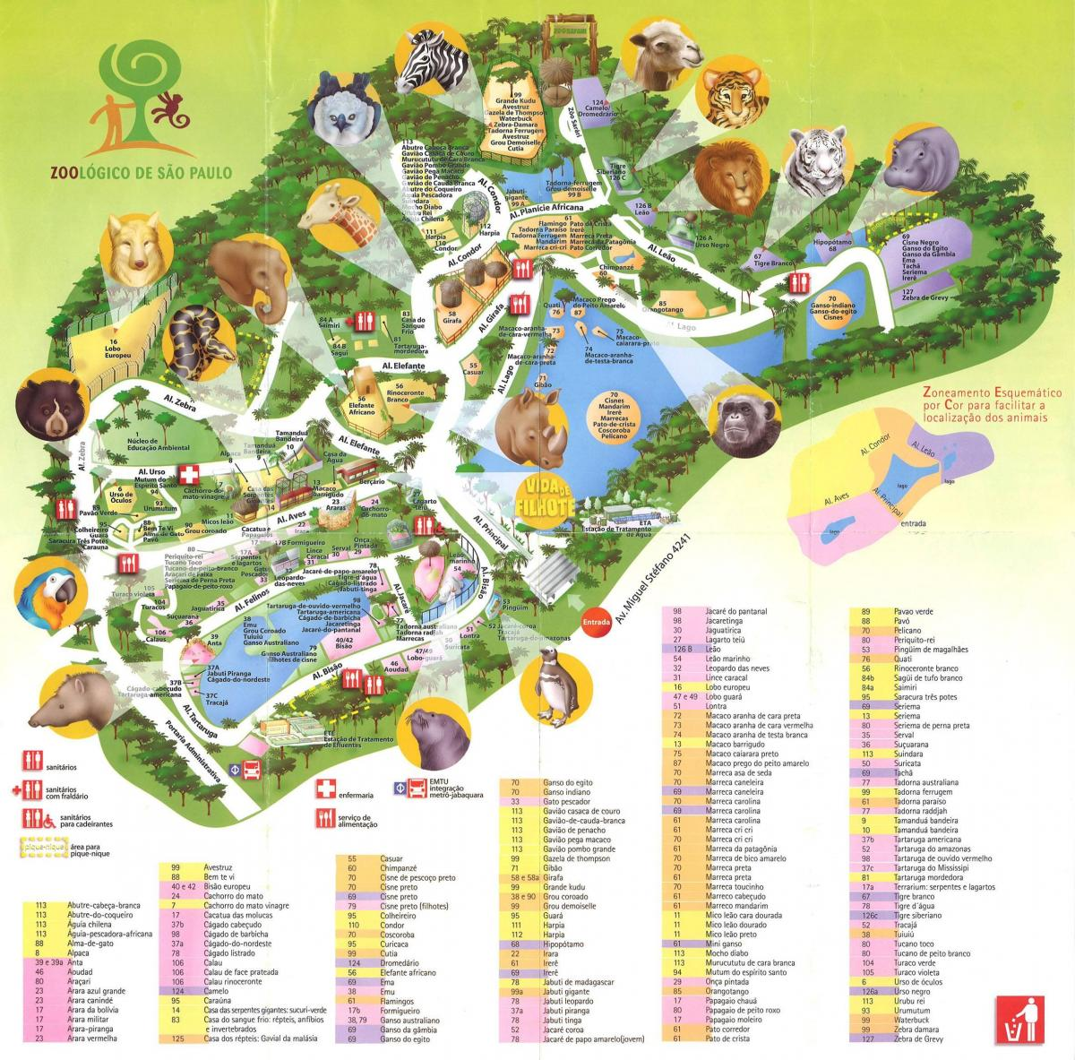 Map of zoological park of São Paulo