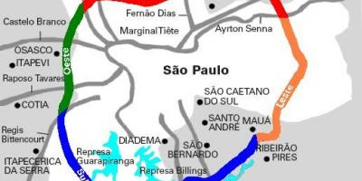 Map of Mário Covas highway - SP 21